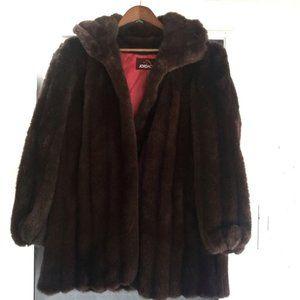Jordache Faux Fur FullyLined Brown Coat Size 15/16